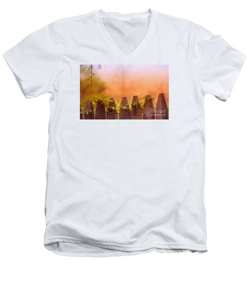 Men's V-Neck T-Shirt featuring the photograph Look Beyond The Boundary by Rima Biswas