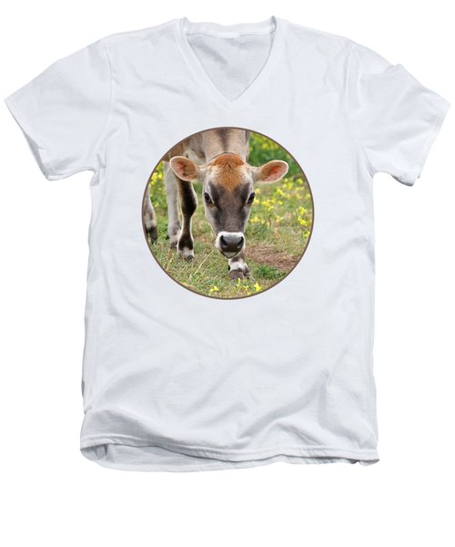 Look Into My Eyes - Jersey Cow - Square Men's V-Neck T-Shirt by Gill Billington