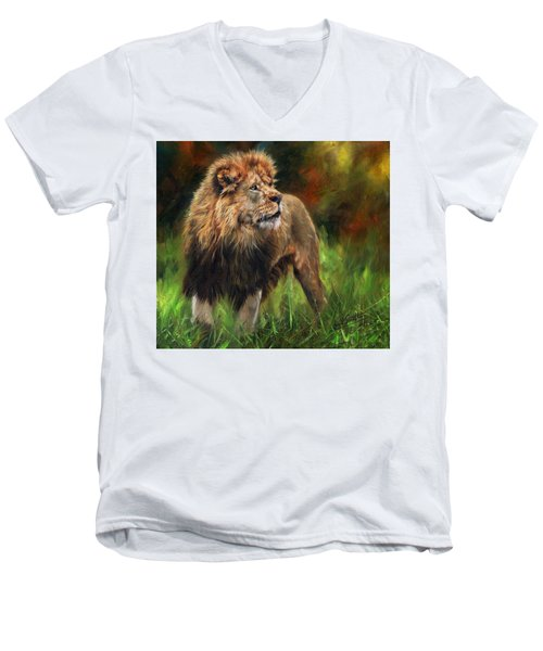 Men's V-Neck T-Shirt featuring the painting Look Of The Lion by David Stribbling