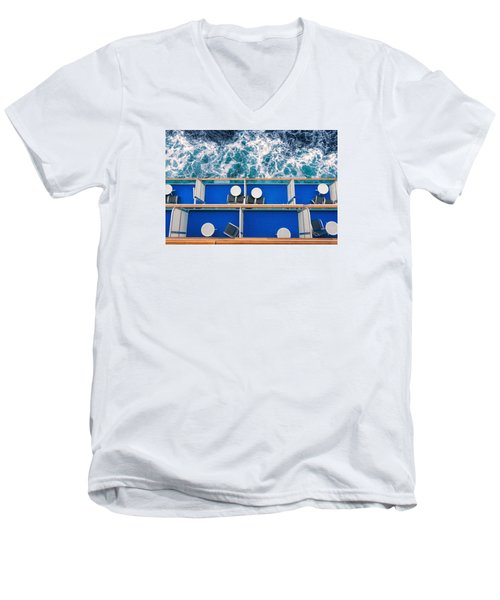 Men's V-Neck T-Shirt featuring the photograph Looking Down At Sea by Lewis Mann