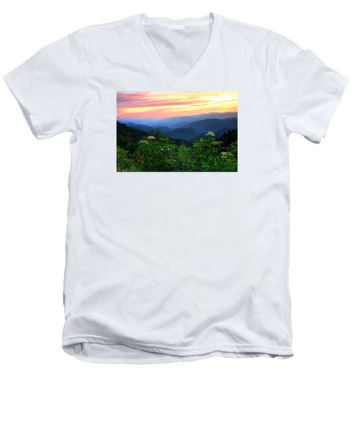 Looking Out Over Woolyback On The Blue Ridge Parkway  Men's V-Neck T-Shirt