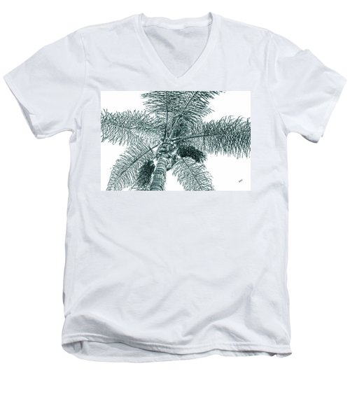 Men's V-Neck T-Shirt featuring the photograph Looking Up At Palm Tree Green by Ben and Raisa Gertsberg