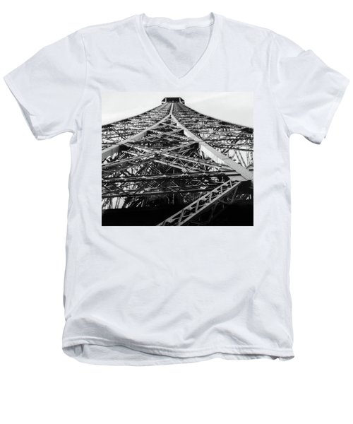 Men's V-Neck T-Shirt featuring the photograph Looking Up From The Eiffel Tower by Darlene Berger