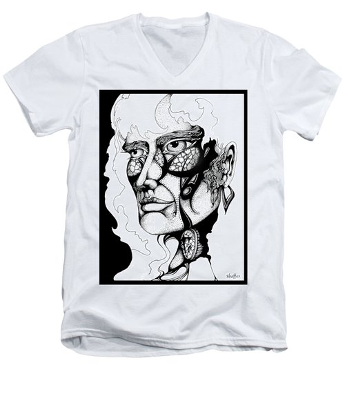 Men's V-Neck T-Shirt featuring the drawing Lord Of The Flies Study by Curtiss Shaffer