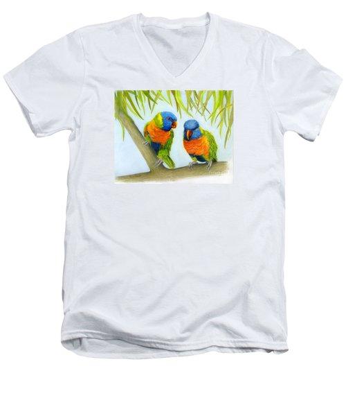 Lorikeet Pair Men's V-Neck T-Shirt by Phyllis Howard