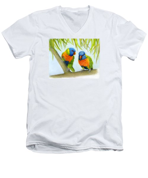 Lorikeet Pair Men's V-Neck T-Shirt