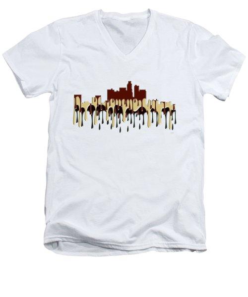 Los Angeles Ca Skyline Men's V-Neck T-Shirt