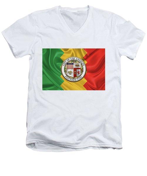 Los Angeles City Seal Over Flag Of L.a. Men's V-Neck T-Shirt by Serge Averbukh