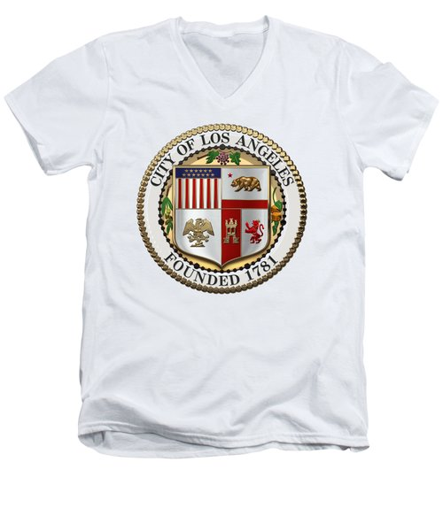 Los Angeles City Seal Over White Leather Men's V-Neck T-Shirt by Serge Averbukh
