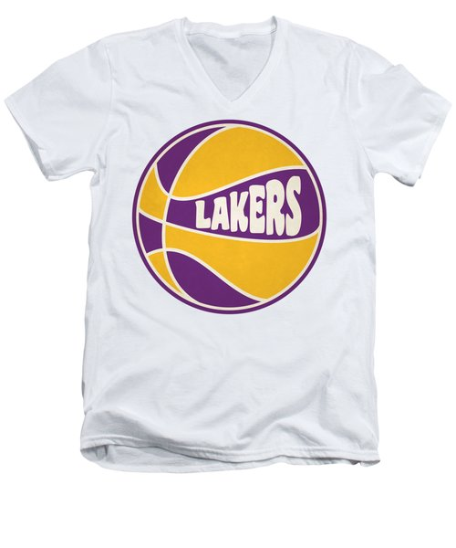 Men's V-Neck T-Shirt featuring the photograph Los Angeles Lakers Retro Shirt by Joe Hamilton