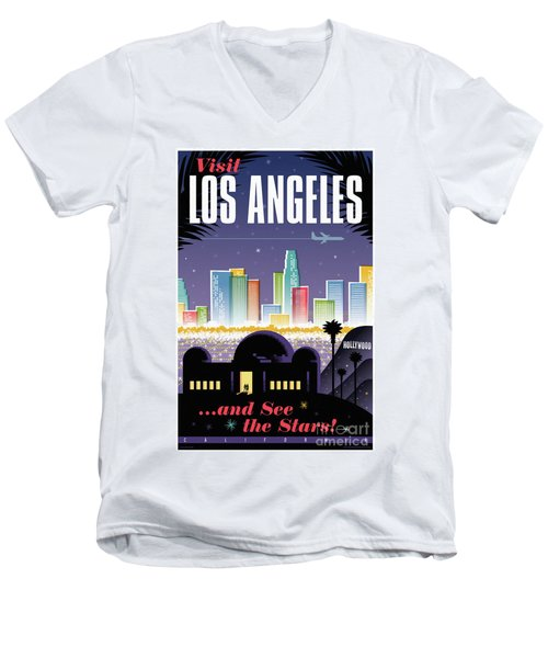 Los Angeles Retro Travel Poster Men's V-Neck T-Shirt