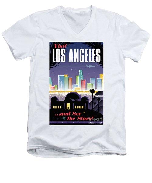 Los Angeles Retro Travel Poster Men's V-Neck T-Shirt