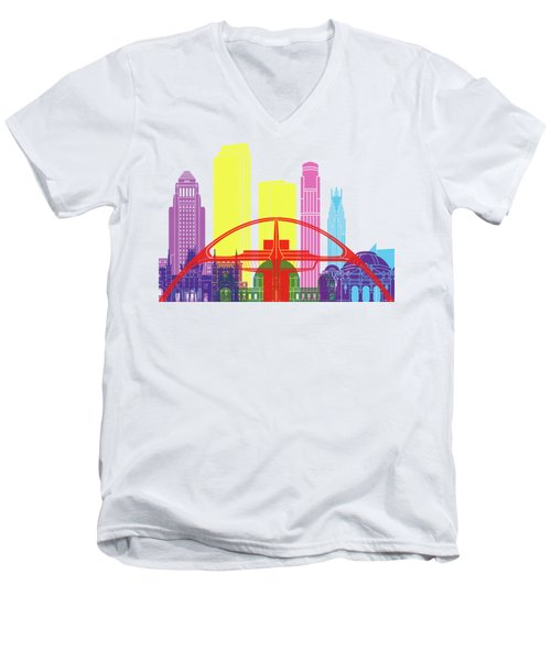 Los Angeles Skyline Pop Men's V-Neck T-Shirt by Pablo Romero
