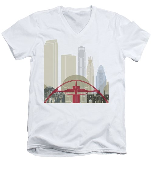 Los Angeles Skyline Poster Men's V-Neck T-Shirt by Pablo Romero