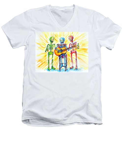 Men's V-Neck T-Shirt featuring the painting Los Tres Cantantes by Heather Calderon