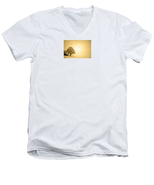Men's V-Neck T-Shirt featuring the photograph Lost In Snow - Winter In Switzerland by Susanne Van Hulst