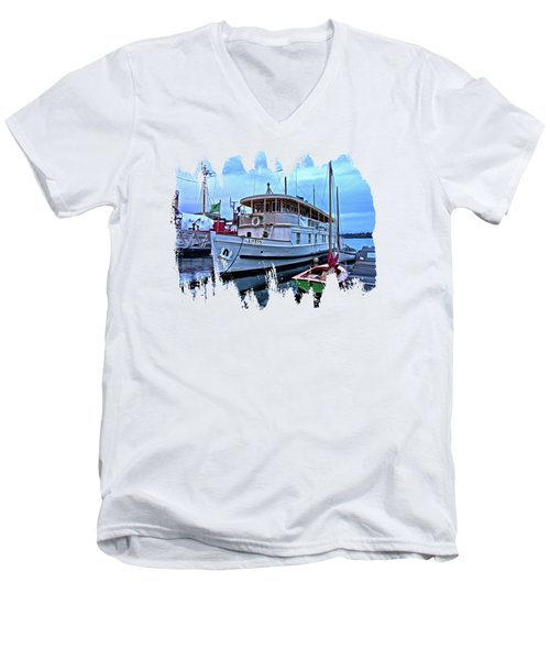 Men's V-Neck T-Shirt featuring the photograph Lotus And The Dinghies by Thom Zehrfeld