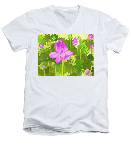 Lotus And Waterlilies Men's V-Neck T-Shirt