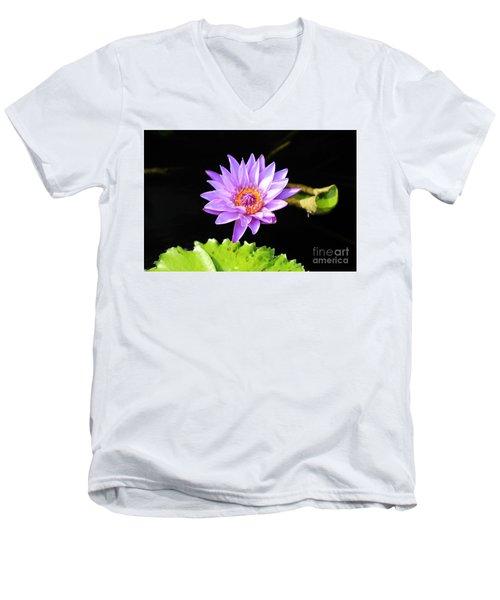 Lotus Splendor Men's V-Neck T-Shirt by Deborah Crew-Johnson