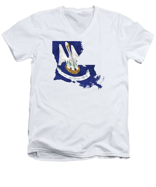 Louisiana Map Art With Flag Design Men's V-Neck T-Shirt