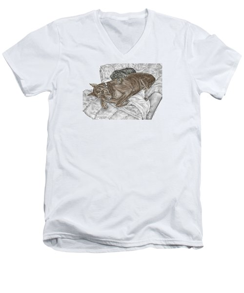 Lounge Lizards - Doberman Pinscher Puppy Print Color Tinted Men's V-Neck T-Shirt by Kelli Swan