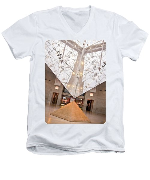 Louvre Pyramid Men's V-Neck T-Shirt by Silvia Bruno