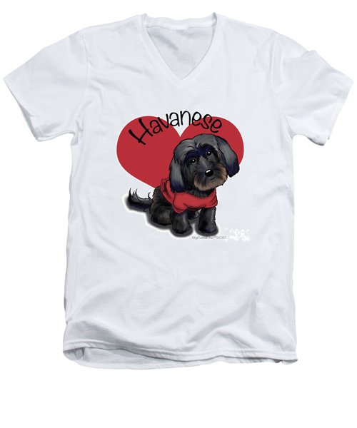 Lovable Black Havanese Men's V-Neck T-Shirt