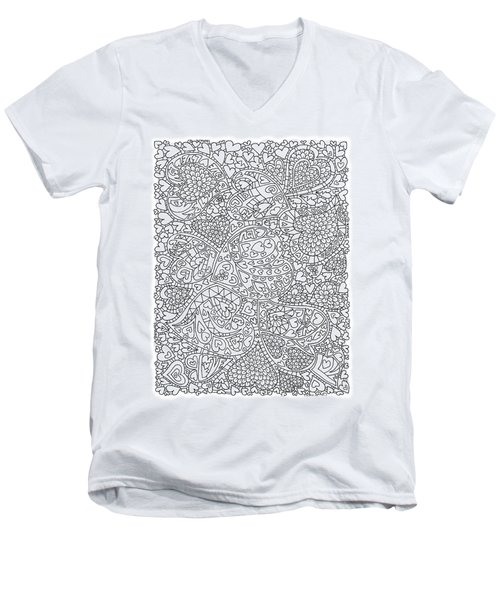Love And Chrysanthemum Filled Hearts Vertical Men's V-Neck T-Shirt by Tamara Kulish