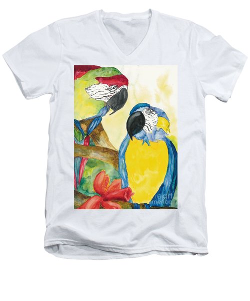 Men's V-Neck T-Shirt featuring the painting Love Birds by Vicki  Housel