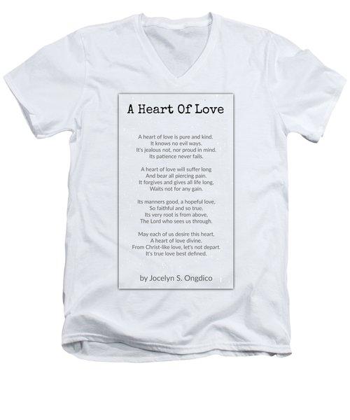 Love Heart Men's V-Neck T-Shirt by David Norman