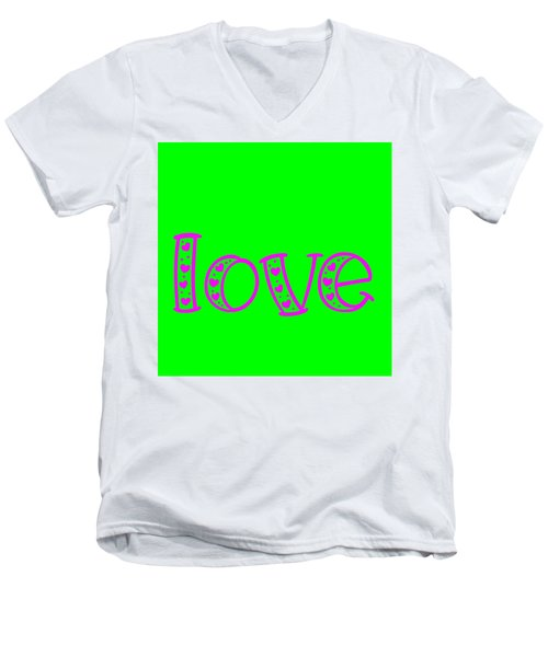 Love In Magenta And Green Men's V-Neck T-Shirt
