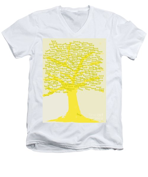 Men's V-Neck T-Shirt featuring the painting Love Inspiration Tree by Go Van Kampen