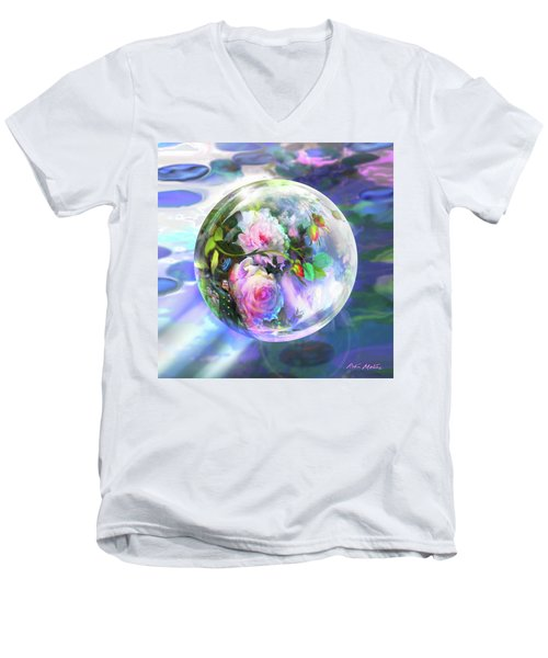 Men's V-Neck T-Shirt featuring the digital art Love Is All Around by Robin Moline