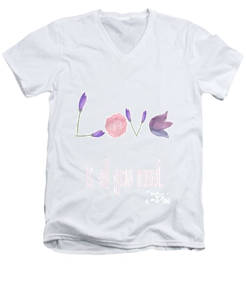 Men's V-Neck T-Shirt featuring the painting Love Is All You Need by D Renee Wilson
