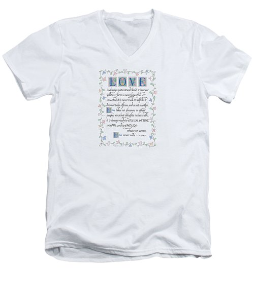 Love Is Always Patient-with Border Men's V-Neck T-Shirt