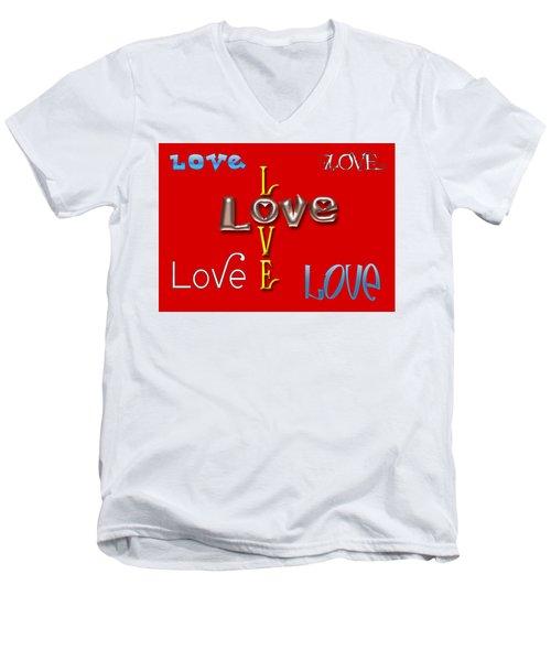 Love Love Love Men's V-Neck T-Shirt