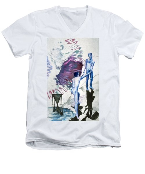 Men's V-Neck T-Shirt featuring the painting Love Metaphor - Drift by Rene Capone