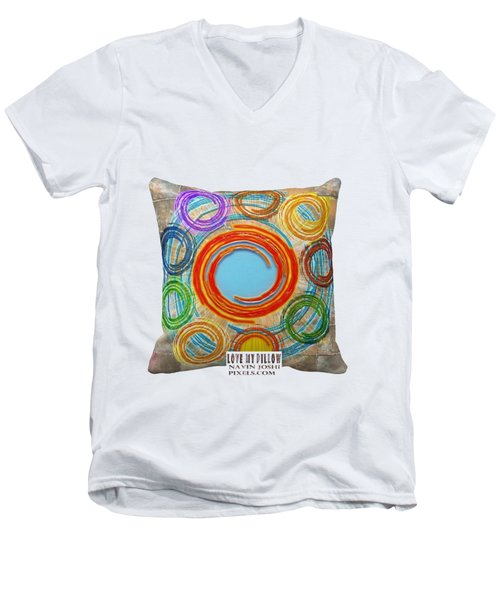 Love My Pillows Colorful Circles By Navinjoshi Artistwebsites Fineartamerica Pixels Men's V-Neck T-Shirt by Navin Joshi
