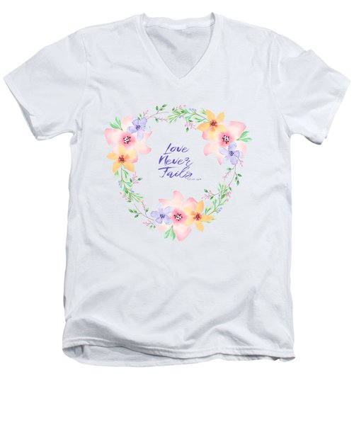 Love Never Fails Men's V-Neck T-Shirt
