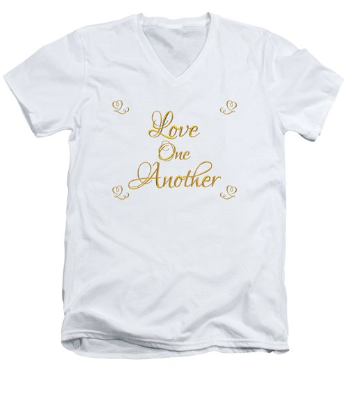 Men's V-Neck T-Shirt featuring the digital art Love One Another Golden 3d Look Script by Rose Santuci-Sofranko