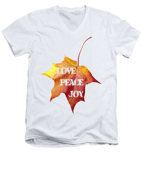 Love Peace Joy Carved On Fall Leaf Men's V-Neck T-Shirt