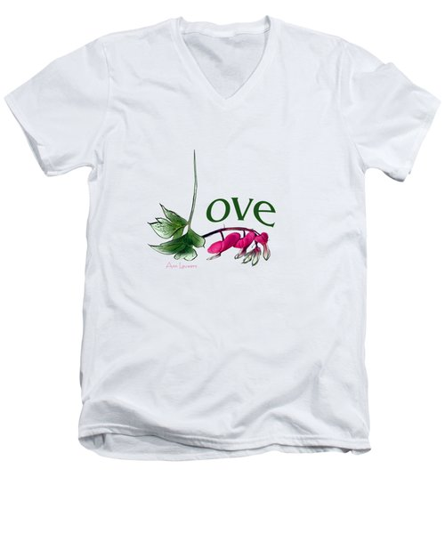 Men's V-Neck T-Shirt featuring the digital art Love Shirt by Ann Lauwers