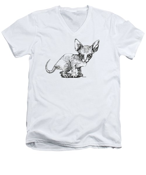 Love Sphynx Men's V-Neck T-Shirt by Akiko Okabe