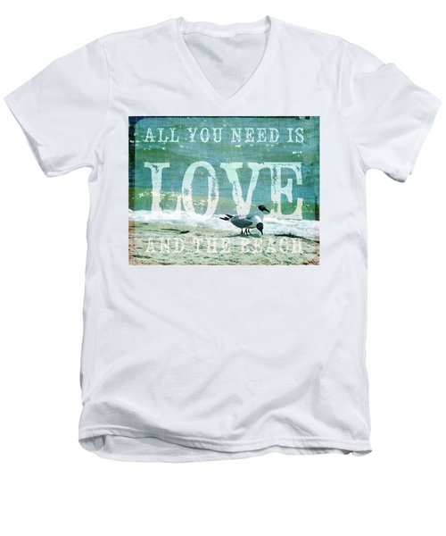 Men's V-Neck T-Shirt featuring the photograph Love The Beach by Jan Amiss Photography