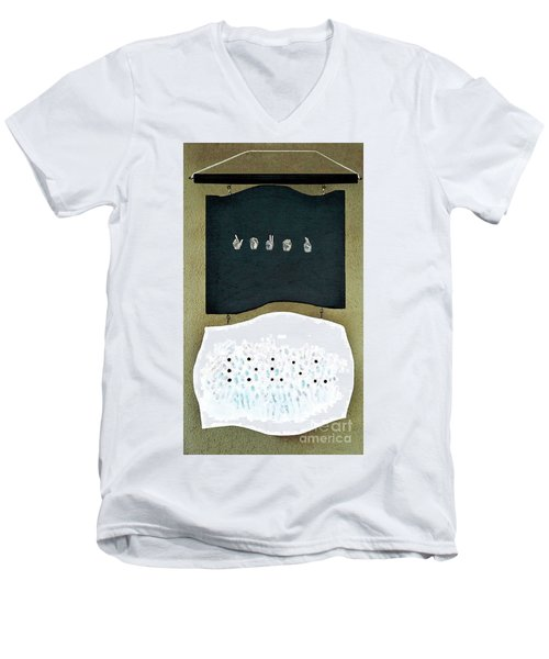 Men's V-Neck T-Shirt featuring the painting Love U by Fei A
