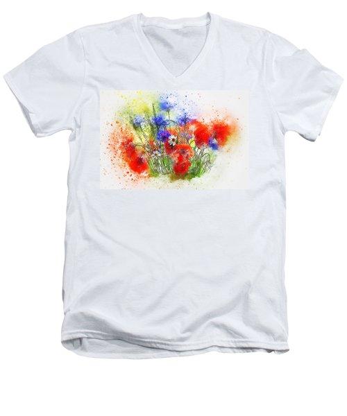 Watercolour Bouquet Men's V-Neck T-Shirt