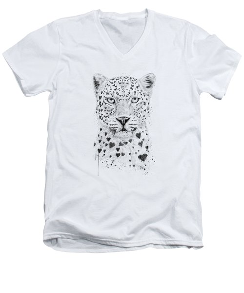 Lovely Leopard Men's V-Neck T-Shirt by Balazs Solti