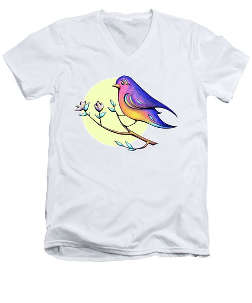 Lovely Spring Day Bird And Flowers Men's V-Neck T-Shirt