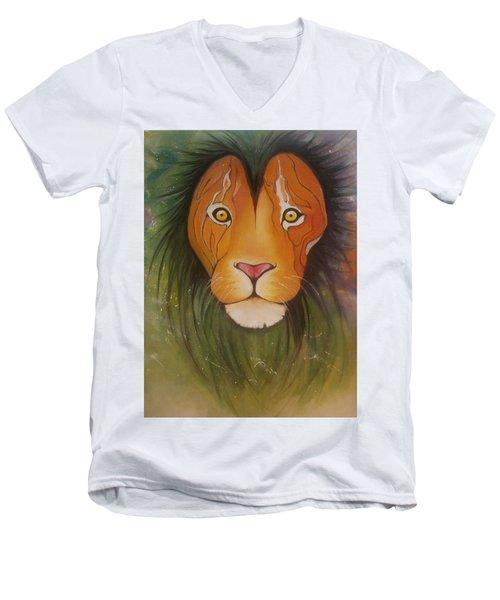 Lovelylion Men's V-Neck T-Shirt by Anne Sue