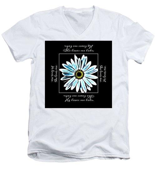 Loves Me In Blue Men's V-Neck T-Shirt